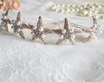 Starfish hair pin, rose gold star hair pin, starfish wedding hair pins, marine hair pin, pink gold star hair clip, beach wedding pins 40