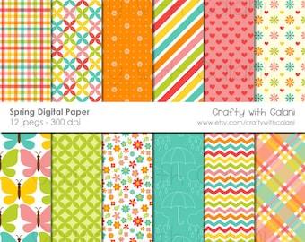 Spring Digital Paper, Cute Pastel Spring Digital paper, Digital background, Instant download