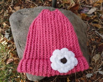 Pink knitted hat/ pink hat/ hat/ knitted/ pink/ flower hat