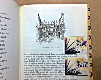 Just One More Page / Chapter Magnetic Bookmark: open book back to back bookmark with magnet
