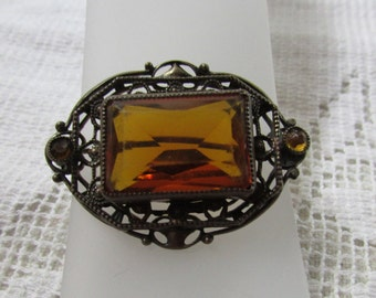 Victorian revival vintage 60's filigree brass brooch with topaz rhinestones