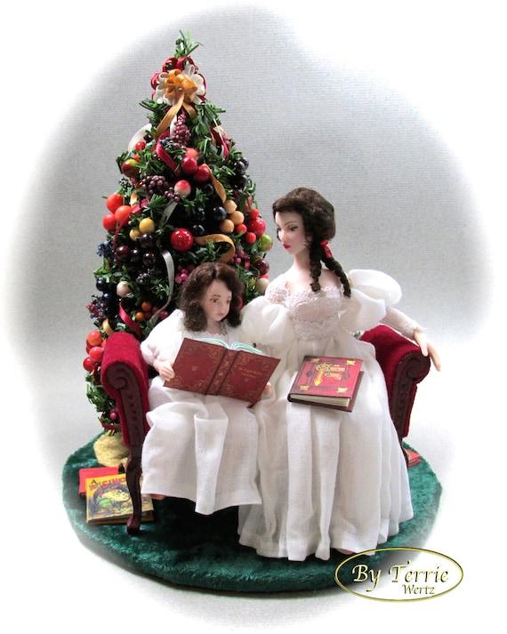 READING The Night Before Christmas OOAK Porcelain Miniature Dolls Presents Books Christmas Tree Settee Velvet