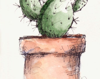 Cactus Plant Original Watercolor Art Painting Pen and Ink Watercolor Hand Painted Cactus Flower Plant Yellow Bud
