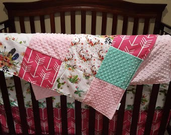 Baby Girl Crib Bedding - Blooming Cactus, Floral Feathers, Hot Pink Arrow, Floral Antlers, Blush, and Mint Crib Bedding Ensemble