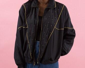 90s Windbreaker, Vintage, Studs, 80s Windbreaker, Black, Gold, Spring Jacket, Sportswear, Studded, 80s, 90s, Futuristic Clothing, Disco