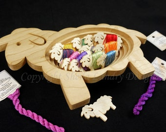 "TSKF01 Sheep Bowl  and 12 Wooden Sheep ""Baaa-bins"""
