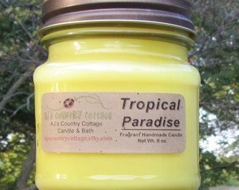 TROPICAL PARADISE CANDLE - Fruit - Highly Scented - Strong - Starfruit, mango, lychee, papaya, dragon fruit, lime, sweet, tart