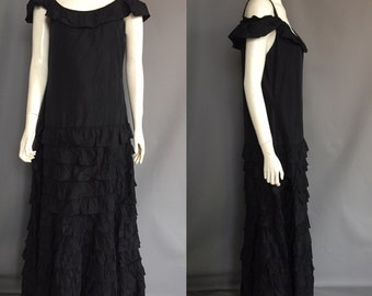 Late 1920s evening dress with rhinestone straps