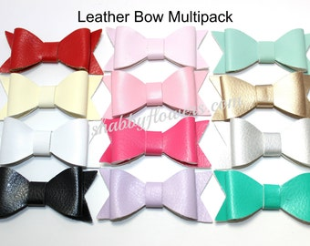 Pack of Faux Leather Bows, Leather Bows, Hair Bows, Headband Bows, Pack of 14