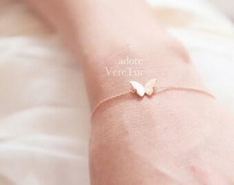 Petite Brushed Pink RoseGold Butterfly Bracelet