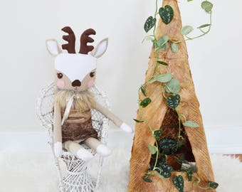 Woodland Deer Doll - Deer Stuffed Toy - Deer Heirloom Doll - Handmade Fawn Toy - Cloth Fawn Toy - Fabric Deer Doll - Large Deer Plushie