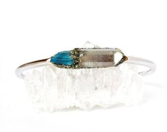Crystal Jewelry, Natural Crystal Jewelry, Raw Crystal Jewelry, Raw Crystal Cuff Bracelet, Boho Raw Bracelet, Clear Quartz Bracelet