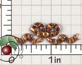 Bow Stamping, Bow Finding, Ribbon Accent, Metal Bow, Metal Ribbon, Copper Ox Plated Brass, 2 Pcs, 1463co2