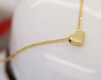 Simple 14K solid gold reversible heart pendant necklace for loved ones HRT-N1005