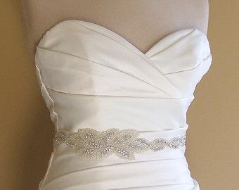 Rhinestone Crystal Bridal Sash, Jeweled Wedding Dress Belt, Leaf Bridal Belt, Leaf Sash, Silver Wedding Belts and Sashes, No. 1121S3020-18-2