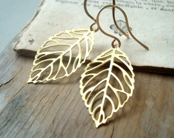 Gold Cutout Leaf Earrings Nature Inspired Modern Zen Minimalist Gifts Under 25 Woodland Jewelry Fall Fashion Dangles Gifts For Her