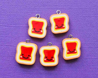 5 Jelly Charms Cute Peanut Butter and Jelly Polymer Clay - E265