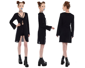 Vintage 90s Black WITCHY Bell Flared Sleeve Long Shirt Dress Jacket Top L XL Goth Grunge Gypsy *Free Shipping U.S.* vtg