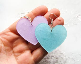 Mismatched Heart Earrings / Big Earrings / Kawaii Earrings / Big / Heart / Mismatched / Cute Earrings / Pretty / Earrings