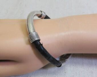 Sterling Silver and Leather Bracelet, Mexican, Vintage Sterling Bracelet