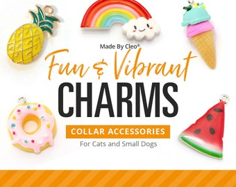 "Cat Collar Charm / Small Pet Charm / Small Collar Charm - ""Fun & Vibrant Charm Series"" - Pet Collar Accessory (Fruit, Donut, Geekery...)"