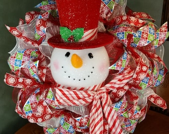 Snowman Wreath, Christmas Snowman,Holiday Wreath, Christmas Wreath, Holiday Decor,ChristmasDecor,Seasonal Decor, Wall Decor