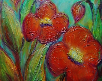 Red Flowers Original Painting on Canvas BEST FRIENDS Textured Oil Art by Luiza Vizoli