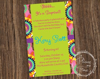 Printable Floral Birthday Invitation