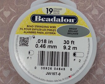 Beadalon Bead Stringing Wire. 19 Strand, .018 Thick 30 foot spool