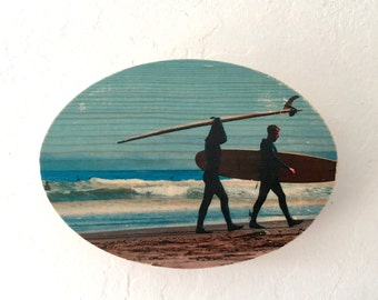 "Heading Home - 2 Surfers - 5x7"" Oval Distressed Photo Transfer on Wood"