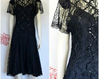 Vintage Lace Dress   Black Party Dress   Black Lace Dress   Sequin Dress   Party Dress   Prom Dress   Short Black Dress   LBD   Black Sequin