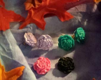 Rose post earrings