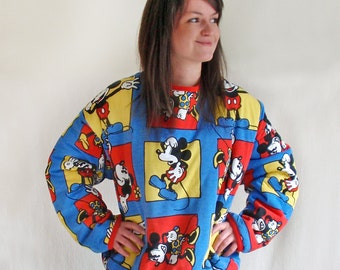 Vintage 80s Mickey Mouse Sweater Sweatshirt Oversized Reversible Cover-up