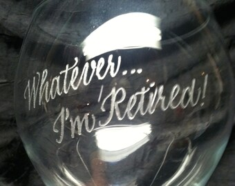 Special occasion - Personalized Hand Engraved STEMLESS glass- Retirement Birthday Anniversary