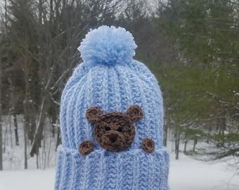 Childrens Winter Hat, Warm Kids Hat, Teddy Bear Hat, Hats for Kids, Kids Beanie, Kids Pom Pom Hat