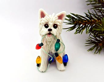 Westie West Highland White Terrier Christmas Ornament Figurine Porcelain Clay  Lights
