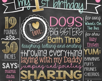 Coral Mint Pink Gold First Birthday Chalkboard |  1st Birthday Chalkboard Sign | First Birthday Chalkboard Girl | First Birthday Poster