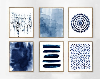 Blue Watercolor Paintings Abstract art Large Wall art Coastal Minimalist art dots stripes splatter Scandinavian Indigo Blue Navy Wall art