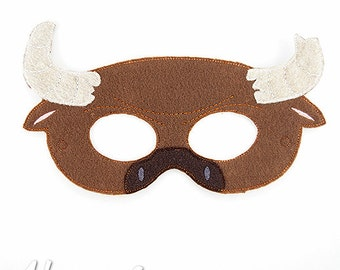 Minotaur Mask Embroidery Design, bull mask, machine embroidery, ITH mask, in the hoop, embroidered mask, 5x7, 6x10, bull costume, cow mask