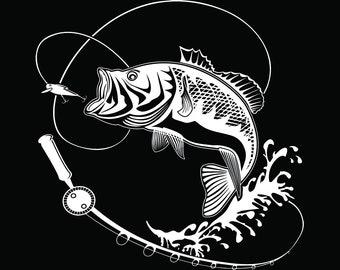 Bass Fishing #10 Logo Angling Fish Hook Fresh Water Hunting Largemouth Smallmouth Striped .SVG .EPS .PNG Clipart Vector Cricut Cut Cutting
