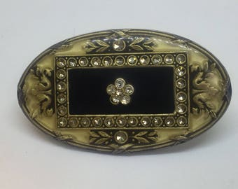 Vintage Catherine Popesco La Vie Parisienne Brooch Art Nouveau Oval Enamel Rectangle with Flower