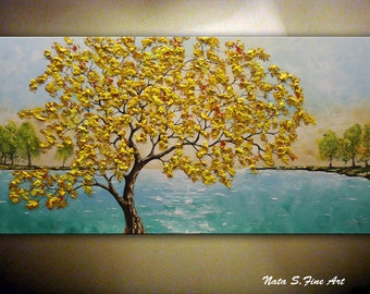 "Fall Tree Painting, 48"" Turquoise Lake Painting, Autumn Tree Art, Acrylic Painting, Seasons, Landscape, Colorful Large Artwork  by Nata"