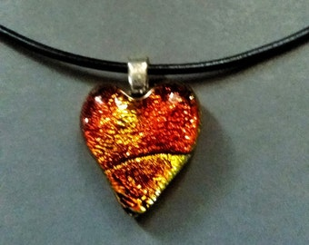 DICHROIC  GLASS FUSED Heart **With Cord Included** Fused Glass Heart Pendant Glass by Trina Rindy