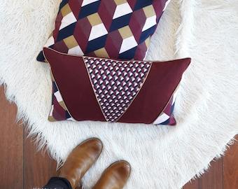 Scandinavian Cushion cover 40 x 40 cm cubic pattern Burgundy, Navy and gold