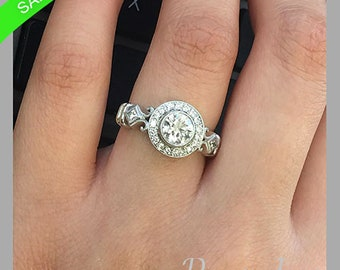 1.12 Total Carat Weight Round Brilliant Cut 100% Natural Diamond Engagement Ring