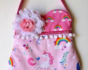 Pretty Pink Unicorn Purse, girls purse, toddler purse, spring purse, girlie purse