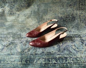 Salvatore Ferragamo Size 7 1/2 B - Wine Red Sling Back Heels - Low heel - Maroon Kitten Heels - Vintage Designer Shoes - Red Leather Shoes
