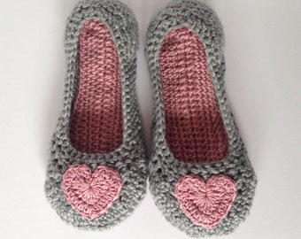 Crochet easter slippers. Womens pink heart and grey Crochet Slippers. Mothers Day Gift. Non-slip sole.