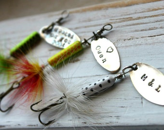 Personalized Handstamped Fishing Lure hook. Customized for you! Perfect Stocking Stuffer for Dad or Grandfather!