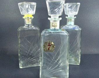 LIQUOR DECANTER, VINTAGE Decanter, Mid Century, Fan Design, Glassware, Seagrams Decanter,